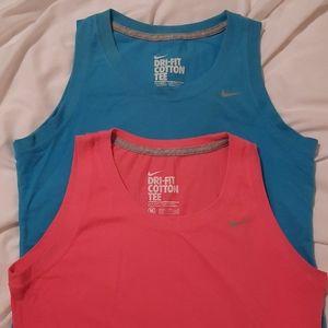 2 Nike Dri-Fit Sleeveless Shirts